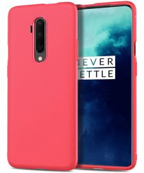 OnePlus 7T Pro Twill Slim Texture Back Cover Rood