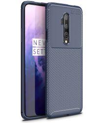 OnePlus 7T Pro Siliconen Carbon Hoesje Blauw
