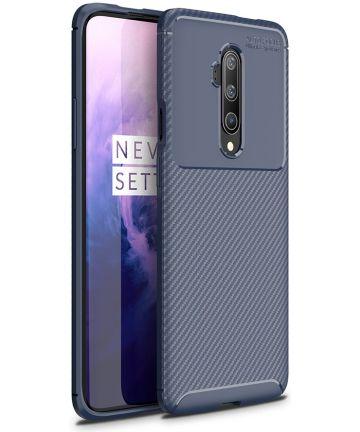 OnePlus 7T Pro Siliconen Carbon Hoesje Blauw Hoesjes