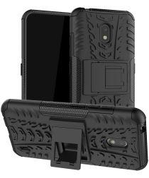 Nokia 2.2 Robuust Hybride Hoesje Zwart