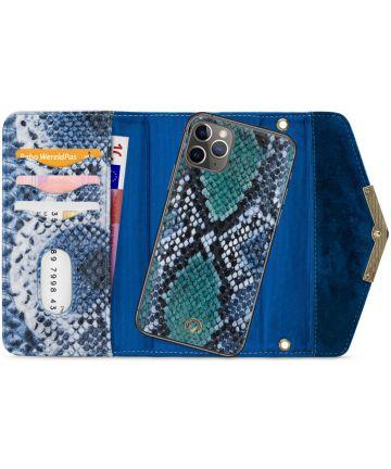 Mobilize Velvet Clutch Apple iPhone 11 Pro Max Hoesje Royal Blue Snake Hoesjes