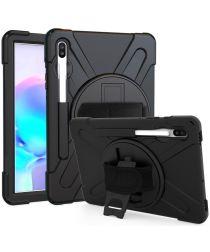 Samsung Galay Tab S6 Hybride Kickstand Hoesje met Handriem Zwart