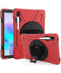 Samsung Galaxy Tab S6 Hybride Stand Hoesje met Handriem Rood