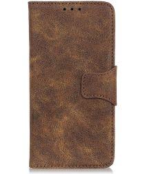 LG G8X ThinQ Vintage Portemonnee Hoesje Donkerbruin