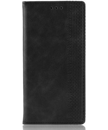 LG G8X ThinQ Stijlvol Vintage Portemonnee Hoesje Zwart Hoesjes