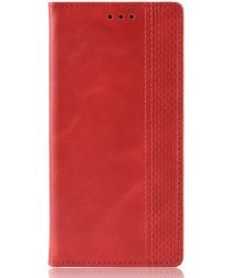 LG G8X ThinQ Stijlvol Vintage Portemonnee Hoesje Rood
