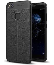 Huawei P10 Lite Hoesje met Lychee Kunstleer Coating Zwart
