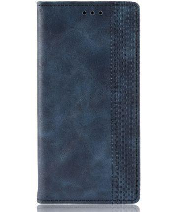 Huawei Mate 20 Stijlvol Vintage Portemonnee Hoesje Blauw Hoesjes