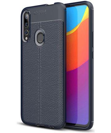Huawei P Smart Z Litchi Kunstleren Coating TPU Hoesje Blauw Hoesjes