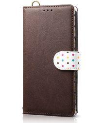 Huawei Honor 9X (Global)/P Smart Z Retro Dots Portemonnee Hoesje Bruin