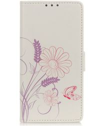 Motorola One Action Splitleren Portemonnee Hoesje Butterfly and Flower