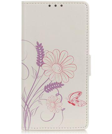 Motorola One Action Splitleren Portemonnee Hoesje Butterfly and Flower Hoesjes