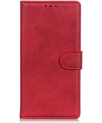 Motorola Moto E6s / E6 Plus Bookcase Hoesje Met Pasjes Rood Hoesjes