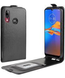 Motorola Moto E6 Plus / E6s Verticaal Flip Hoesje Zwart