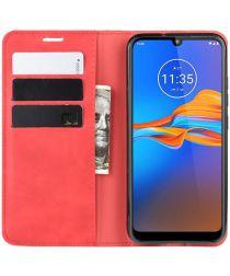 Motorola Moto E6s / E6 Plus Retro Wallet Hoesje Rood