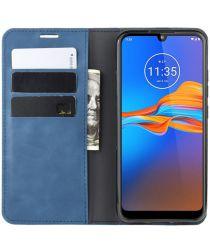 Motorola Moto E6 Plus / E6s Retro Wallet Hoesje Blauw