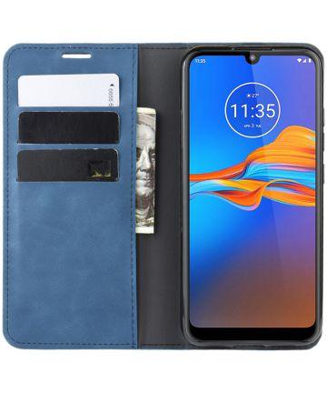 Motorola Moto E6s / E6 Plus Retro Wallet Hoesje Blauw Hoesjes