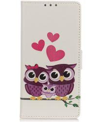 Motorola One Macro Splitleren Portemonnee Hoesje Owls and Hearts