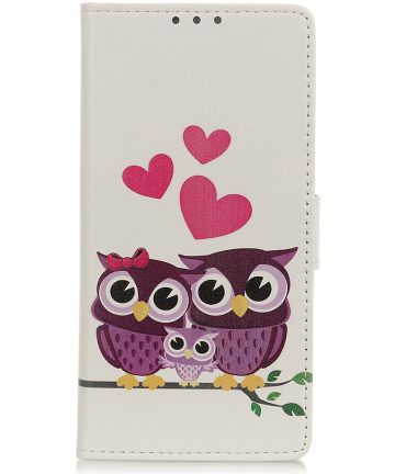 Motorola One Macro Splitleren Portemonnee Hoesje Owls and Hearts Hoesjes