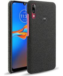Motorola Moto E6s / E6 Plus Stof Hard Back Cover Zwart