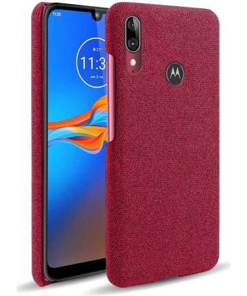 Motorola Moto E6s / E6 Plus Stof Hard Back Cover Rood Hoesjes