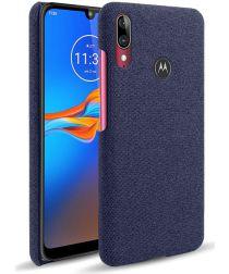 Motorola Moto E6 Plus / E6s Stof Hard Back Cover Blauw