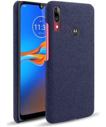 Motorola Moto E6s / E6 Plus Stof Hard Back Cover Blauw Hoesjes