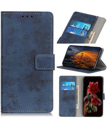 Motorola Moto G8 Plus Vintage Portemonnee Hoesje Blauw Hoesjes