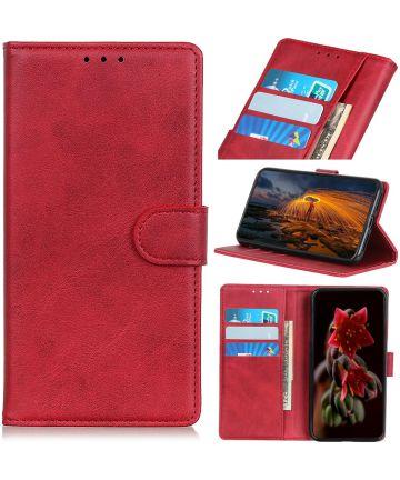 Motorola Moto E6 Play Hoesje Bookcase Met Stand Rood Hoesjes