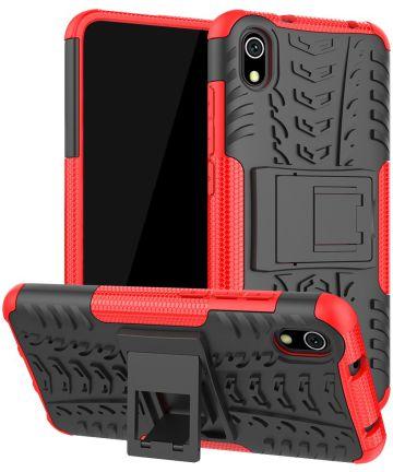 Xiaomi Redmi 7A Robuust Hybride Hoesje Zwart/Rood Hoesjes