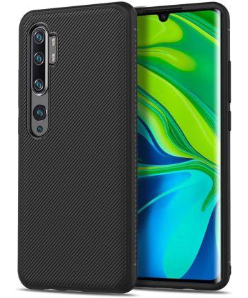 Xiaomi Mi Note 10 (Pro) Twill Texture TPU Hoesje Zwart Hoesjes