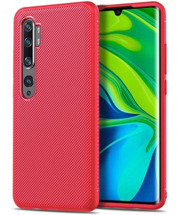 Xiaomi Mi Note 10 (Pro) Twill Texture TPU Hoesje Rood Hoesjes