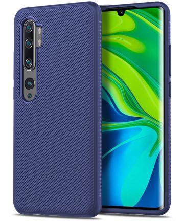 Xiaomi Mi Note 10 (Pro) Twill Texture TPU Hoesje Blauw Hoesjes