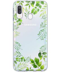 HappyCase Samsung Galaxy A20E Flexibel TPU Hoesje Leaves Print