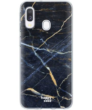 HappyCase Samsung Galaxy A20E Flexibel TPU Hoesje Donker Marmer Print Hoesjes