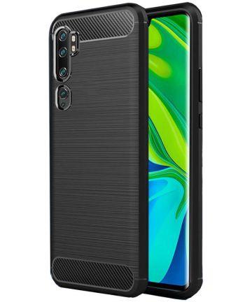 Xiaomi Mi Note 10 / Mi Note 10 Pro Hoesje Geborsteld en Dun TPU Zwart Hoesjes
