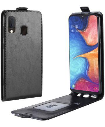 Samsung galaxy A20E Flip Hoesje Verticaal Zwart