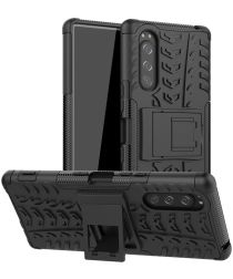 Sony Xperia 5 Robuust Hybride Hoesje Zwart