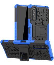 Sony Xperia 5 Robuust Hybride Hoesje Blauw