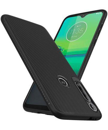 Motorola Moto G8 Play Twill Slim Texture Back Cover Zwart Hoesjes