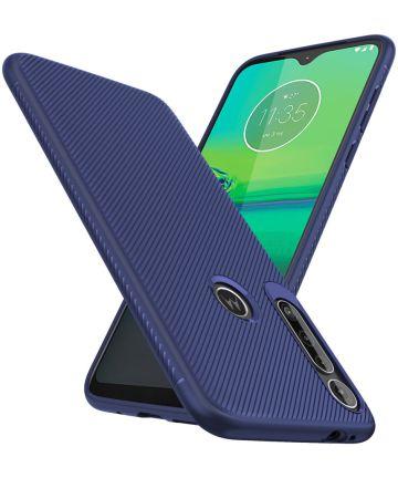Motorola One Macro Twill Slim Texture Back Cover Blauw Hoesjes
