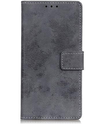 Xiaomi Redmi 8A Vintage Portemonnee Stand Hoesje Grijs Hoesjes