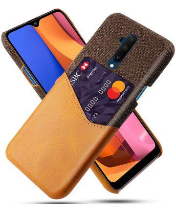 OnePlus 7T Pro Kunststoffen Back Cover met Kaartsleuf Bruin Hoesjes