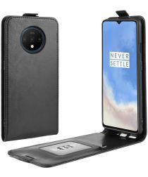 OnePlus 7T Verticaal Flip Hoesje Zwart