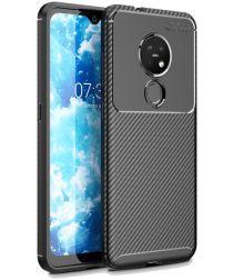 Nokia 6.2 / 7.2 Siliconen Carbon Hoesje Zwart