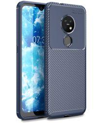 Nokia 6.2 / 7.2 Siliconen Carbon Hoesje Blauw