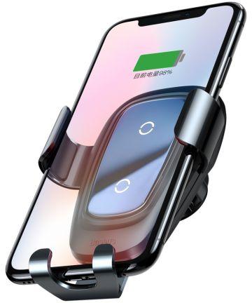 Baseus Metal Gravity Ventilatie Telefoonhouder Draadloos Laden Zwart Houders