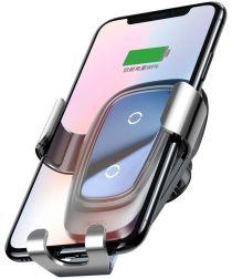 Baseus Metal Gravity Ventilatie Telefoonhouder Draadloos Laden Zilver