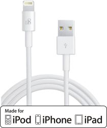 D8 Fast Charging 2.4A iPhone Kabel 1 Meter Wit