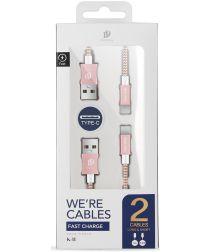 Dux Ducis USB C kabels Set Gevlochten 1 en 0,2 meter Roze Goud